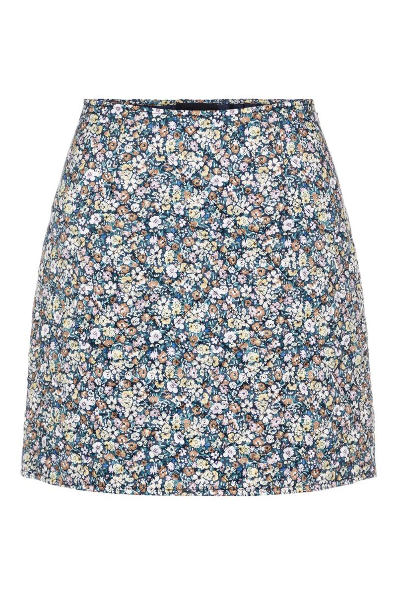 Pieces - Nederdel - PC Muusa HW Skirt - Black/Multi Flower